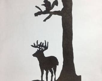 Metal* Whitetail Scene Plasma Cut by Hand Repurposed Hand Saw, Wall Decor, Art