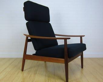 Arne Vodder FD-164 Teakwood Reclining Lounge Chair, France & Son, Jon Stuart