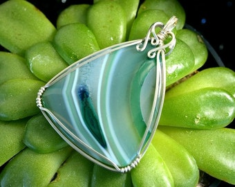 Wire Wrapped Banded Agate in Argentium Silver, Green Striped Stone Necklace