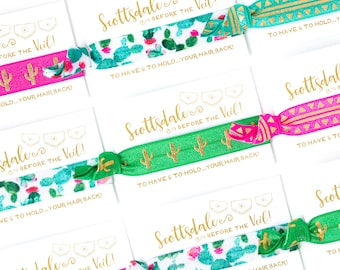 SCOTTSDALE Before the Veil Hair Tie Favors | Cactus Bachelorette Party Favor Hair Ties, Arizona Bachelorette, Gold Cactus Boho Hair Ties