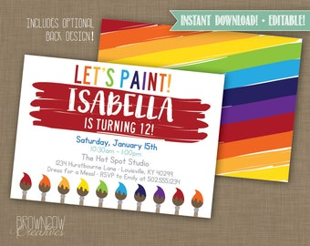 INSTANT DOWNLOAD! Printable // Editable // Painting Party Primary Colors Invitation // Art Party Invitation PDF