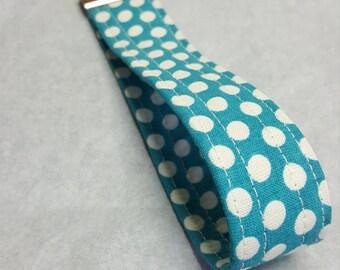 Turquoise with White Polka Dots Key Fob / wristlet/ key bracelet/ key strap