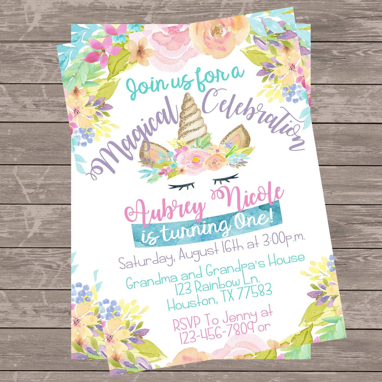 Rainbow Unicorn Birthday Invitation Floral Pink Unicorn