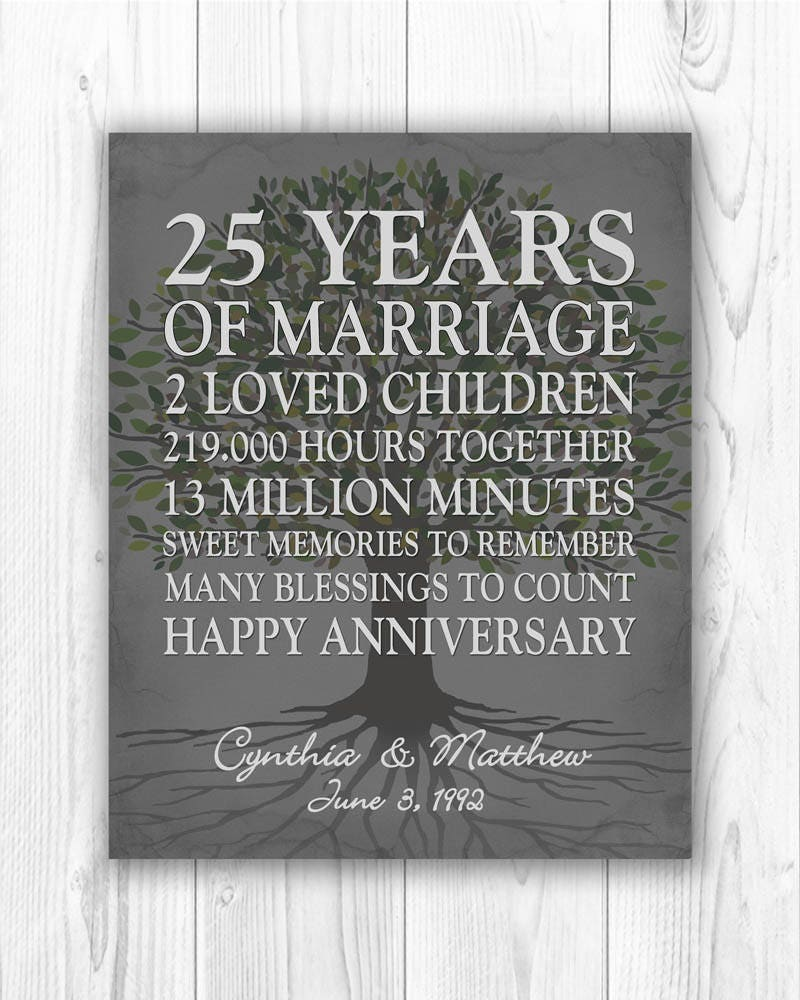 25th Wedding Anniversary Gift For Parents: 25th Anniversary Gift 25 Year Anniversary Gift 25th Wedding