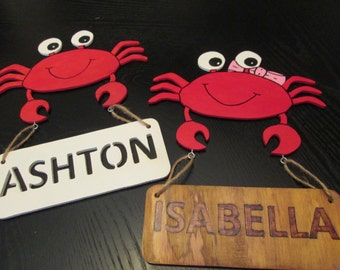 Adorable Customized Children's Crab Shaped Name Sign