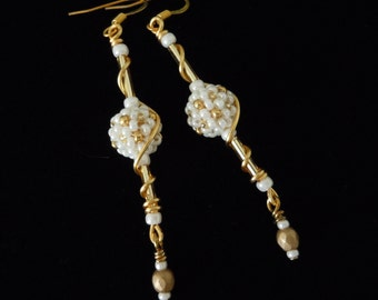 Bridal Gold Earrings, Long Dangle Earrings, Beaded Bridal Earrings, Wire Wrapped Earrings, Beaded Beads