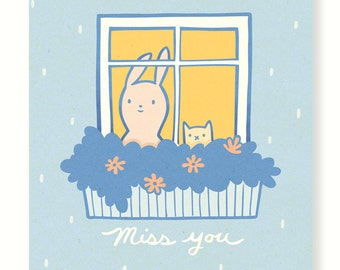 Miss You Bunny Card