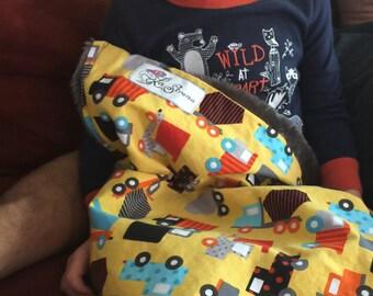 """Yellow Dump Trucks & Cars Baby Blanket: """"Bruno"""""""