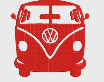 VW Red Volkswagen Bus Van Embroidery Design - Instant Download Filled Stitches Embroidery Design 879