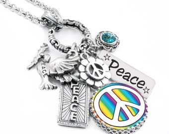 World Peace Charm Jewelry, Peace Sign Silver Jewelry, Glass Pendant, Silver Charm Jewelry, Boho Jewelry