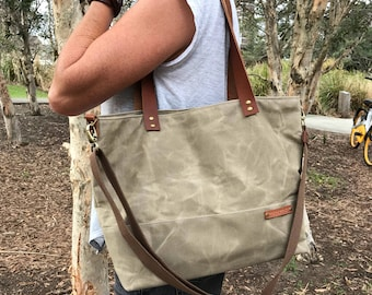 Waxed Canvas Carry All Tote Bag Canvas and Leather Diaper Bag Nappy Bag Cross Body Gift for Her