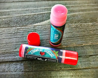 Strawberry Shortcake Lip Balm - Strawberry Flavored Lip Balm - Handmade Lip Balm - Summer Lip Care - Lip Balm Gift Set - Tinted Lip Balm