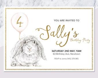 Bunny Invitation Etsy - Bunny birthday invitation template