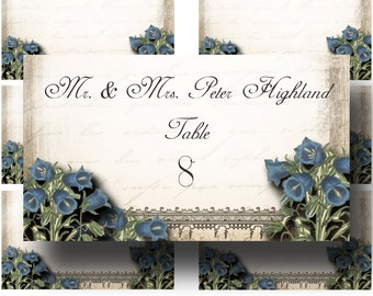 Guest Table FLAT Placard, Le Jardin BLUEBELLS, 3.5x2, Printable, Weddings, Bridal Shower, Baby Shower, Seating Numbers, wedding decoration