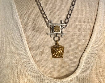 Assemblage Repurposed Charm and Chain Vintage Style and Contemporary Necklace