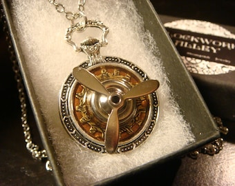 Steampunk Pocket Watch Style Movable Propeller Pendant Necklace  (2191)