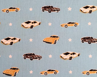Muscle Car by Poppy Cotton Fabric, Quilting Fabric & Patchwork Fabric - Fat Quarter
