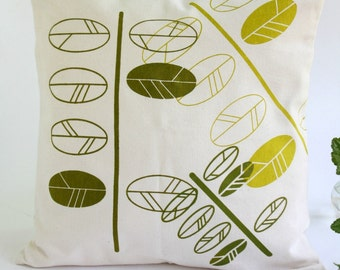 Cotton Pillow Cover with hand printed leaves- Modern pillow with twig screen printed in green hues -16x16 or 18x18
