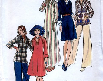 Butterick 3356 Vintage 70s Misses' Dress, Top and Pants Sewing Pattern - Uncut - Size 12 - Bust 34