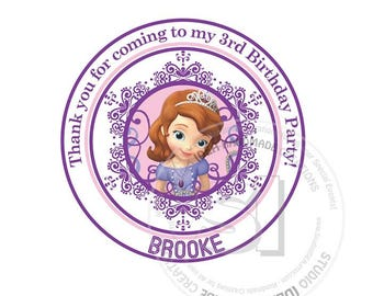 "Custom Stickers- Sophia the 1st Birthday 2.5"" STICKERS-Purple-Pink Princess Sophia the 1st Thank you 2.5"" Stickers"