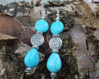 Turquoise earrings/Boho earrings/Gypsy jewelry/turquoise jewelry/dangle earrings/southwestern jewelry/Hippie earrings/Indie style earrings