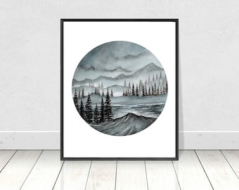 Watercolor Gray Pine Trees and Mountains Landscape Circle  Original Painting- Giclee Print- Home Decor- Wall Art- 8X10 to 18X24 Prints size