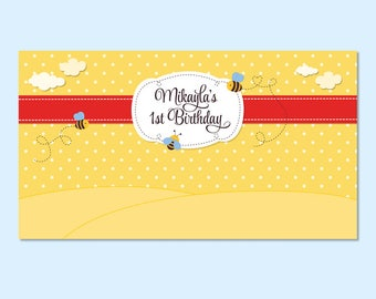 Bees and Honey Printable Backdrop, Kids Party Backdrop, Baby Party Backdrop, 1st Birthday Party Backdrop, Baby Shower Party Backdrop