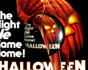 "H019 Halloween 1"" Pinback Button Pin Cult Classic Horror Cinema Film Movie John Carpenter Michael Myers Slasher"