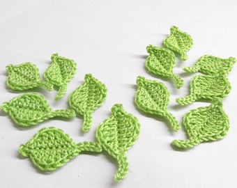 Crochet leaves, 4cm , 12 pc., small appliques,  light green