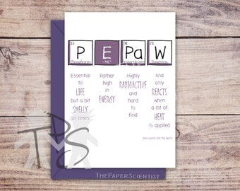 Printable PePaw card | Greetings Card Periodic Table | PePaw Papa PaPaw Dad Grandad | Unique Father's Day Card | Funny Birthday | 5 x 7 inch