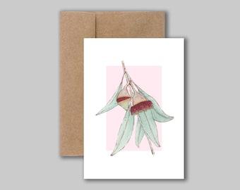 Australian native eucalyptus watercolour illustration- art print card- Blank greeting card, birthday card, thank you card- illustrated card