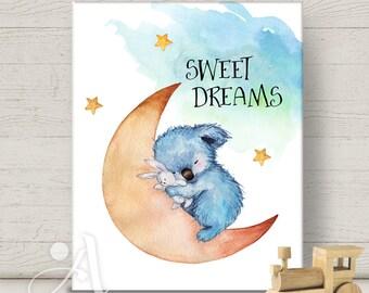 Printable artwork digital download SWEET DREAMS for nursery decoration print-it-yourself print poster baby boy girl room wall art ArtCult