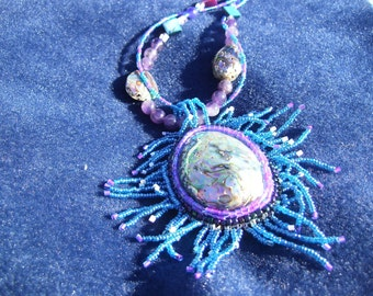 Native American Beadwork, Abalone cabochon with mother of pearl and amethyst accents necklace