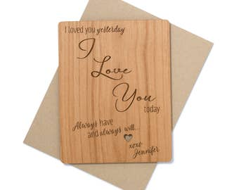 Romantic Anniversary Card Wood. 5th Anniversary Card.  Anniversary Gift for Him.