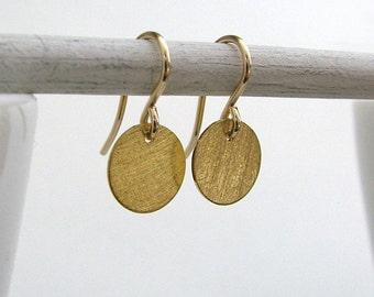Gold Disk Vermeil Earrings, Coin Earrings, Gold Fill Ear Wires, Minimal Earrings, Simple Gold Earrings
