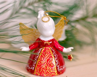 Christmas Angel Ornament, Angel Wings Ornament, Red Angel ornament, porcelain angel gift, angel figurine, angel bell, red christmas ornament