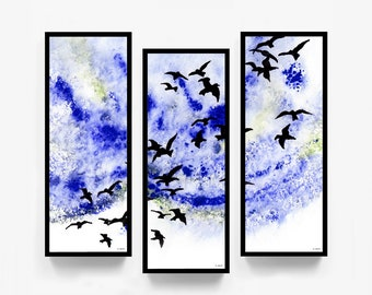 """Printable Original Triptych Artwork, """"They're Coming! They're Coming!"""", Digital Download, Birds, Sky, Outdoors, Landscape, Triptych"""