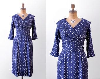 50's polka dot dress. navy blue. 1950's dress. white. shawl collar. medium.