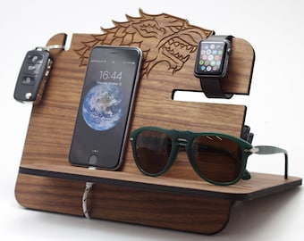 Wooden Docking Station, game of thrones, winter is coming,got,stark, game of thrones gift, got gift, game of thrones, got fan, stark family