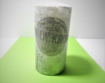 Decoupage candle,new york candle.essential oil candle