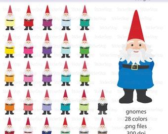 Garden Gnome Digital Clipart - Instant download PNG files - Elf