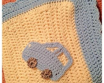 Crochet Boys Baby Blanket with Car Appliques Beep Beep