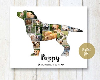 Labrador Retriever Dog Collage gift - Pet Memorial Pet Loss  - Any dog breed Photo Collage wall art poster sign gift - DIGITAL FILE!
