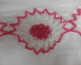 Vintage White Full / Double Flat Bed SHEET with Bright PINK and White Hand Crocheted Motif Edging - So Pretty
