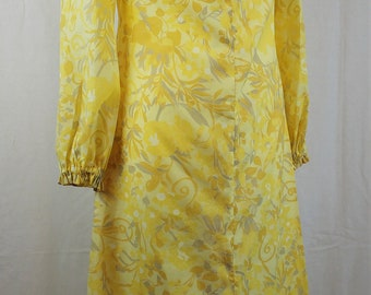 Vintage 1960s Yellow Floral Maxi Dress