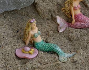 Fairy Garden Green Mermaid Sunbathing ~ Miniature Turquoise Mermaid Figurine ~ Beach Fairy Garden Supplies & Terrarium Accessory