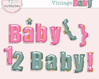 Vintage Baby - Commercial use Card making Scrapbook Alphabet * Printable, Instant Download