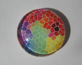 Cabochon 20 mm with a multicoloured mosaic pattern