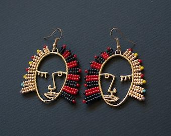 Picasso Style Earrings, Black Red Earrings, Hollow Out Earrings, Golden Face Earrings, Hollow Face Earring, Asymmetrical Earrings