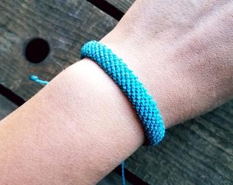 Teal Waterproof Bracelet/ mens friendship bracelet/ adjustable cord/ summer bracelet